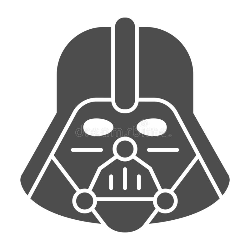 Icono sólido de Darth Vader Ejemplo del vector de Star Wars aislado en blanco Diseño del estilo del glyph del carácter de espacio libre illustration
