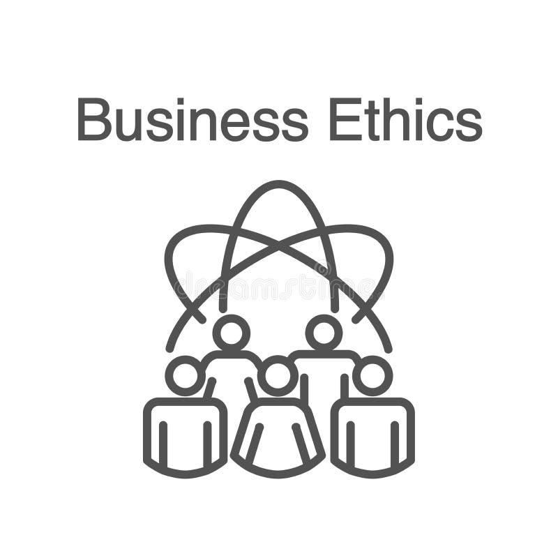 Icono sólido de la ética empresarial con la gente que comparte ideas ilustración del vector