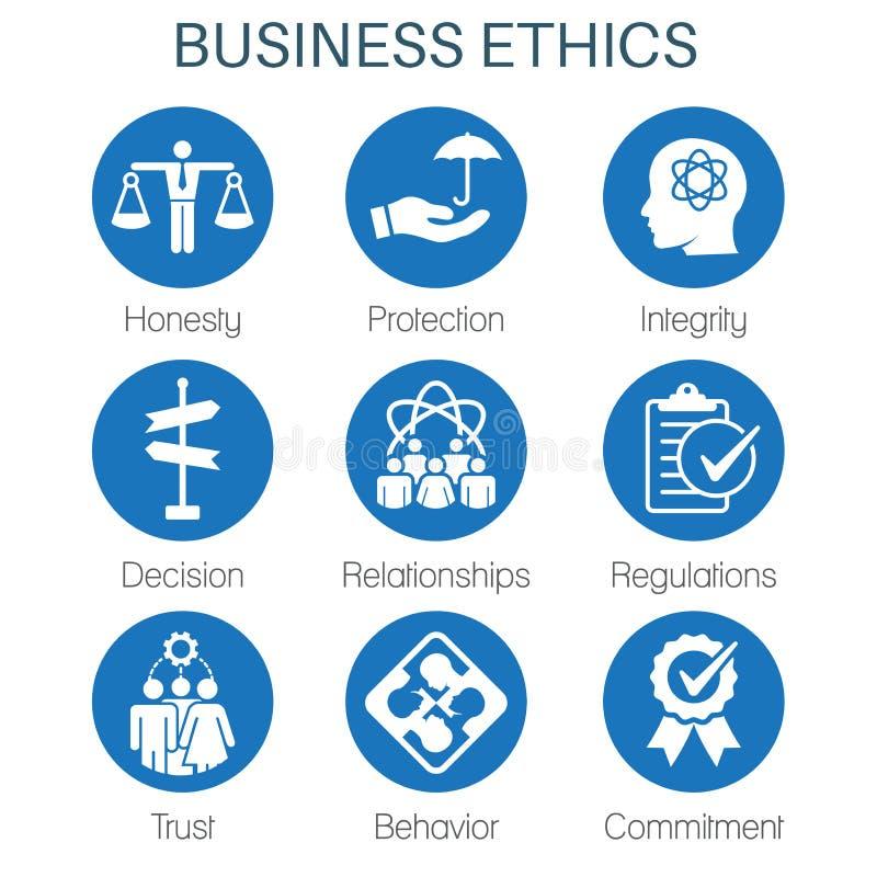 Icono sólido de la ética empresarial fijado con la honradez, integridad, Commitme ilustración del vector