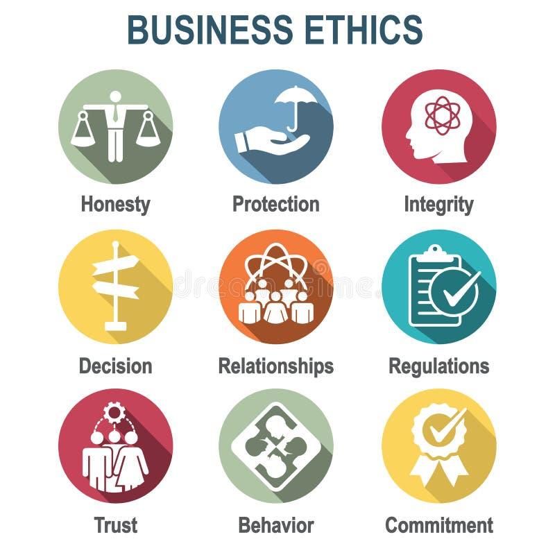 Icono sólido de la ética empresarial fijado con la honradez, integridad, Commitme stock de ilustración