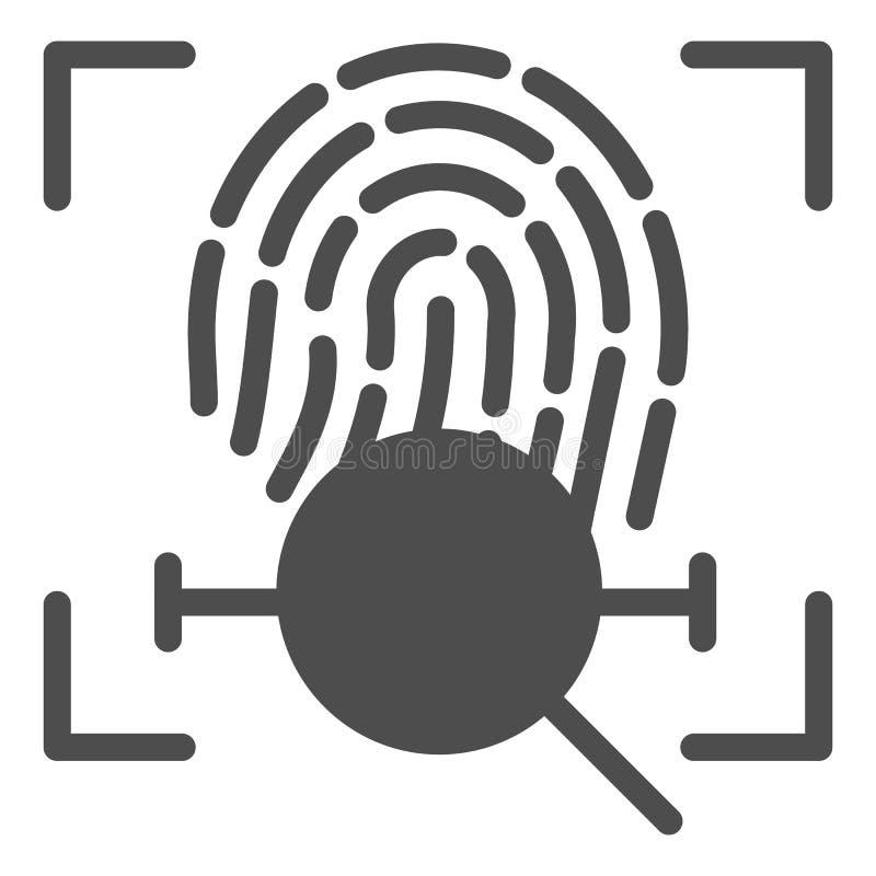 Icono sólido de la búsqueda de la exploración de la huella dactilar Ejemplo del vector de la identificación del finger aislado en stock de ilustración