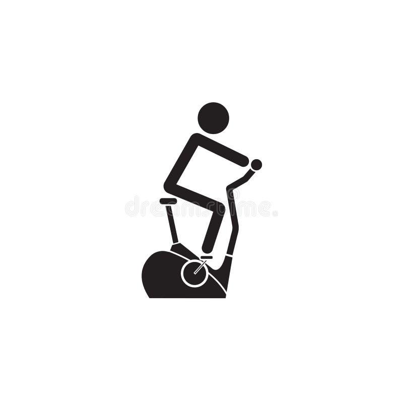 Icono sólido de la bicicleta inmóvil, bicicleta estática libre illustration