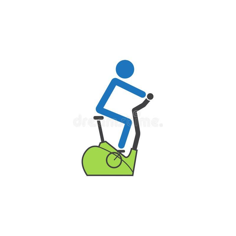 Icono sólido de la bicicleta inmóvil, bicicleta estática stock de ilustración