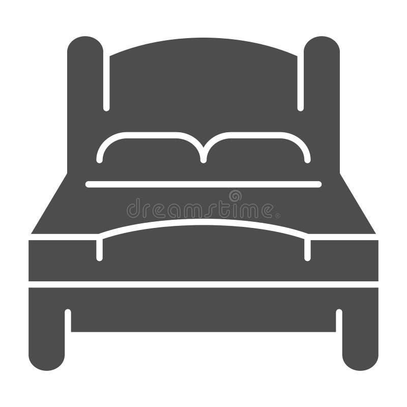 Icono sólido de la cama Ejemplo del vector de la cama matrimonial aislado en blanco Diseño del estilo del glyph del sitio doble,  stock de ilustración