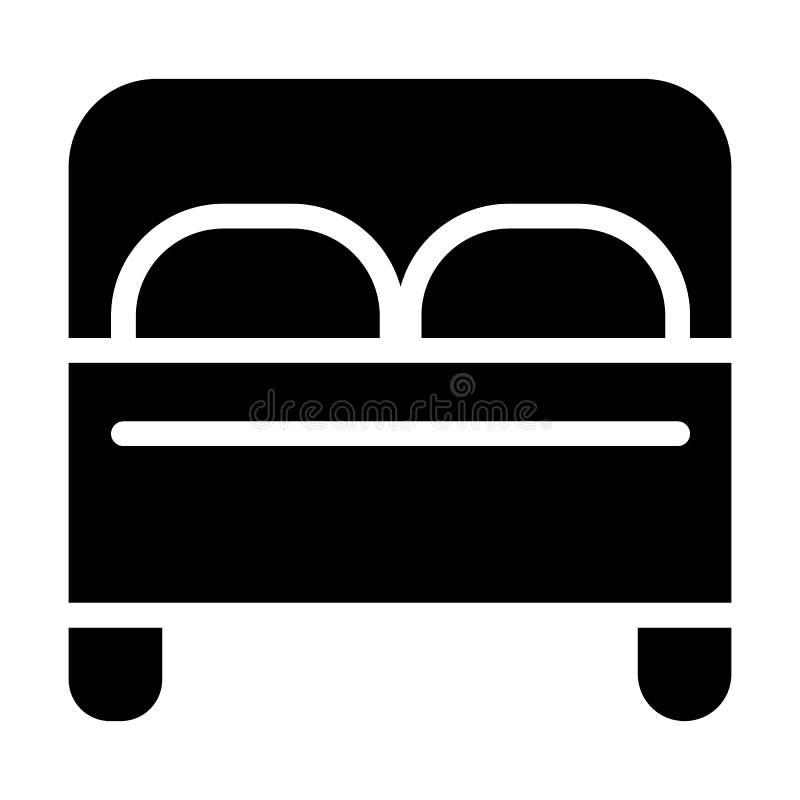 Icono sólido de la cama matrimonial Ejemplo del vector de los muebles aislado en blanco Diseño del estilo del glyph del dormitori stock de ilustración