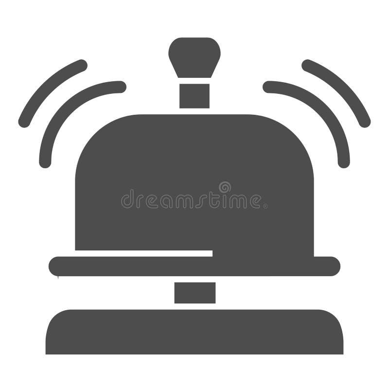 Icono sólido de la campana de la recepción Ejemplo del vector de la campana del hotel aislado en blanco Diseño alerta sano del es stock de ilustración