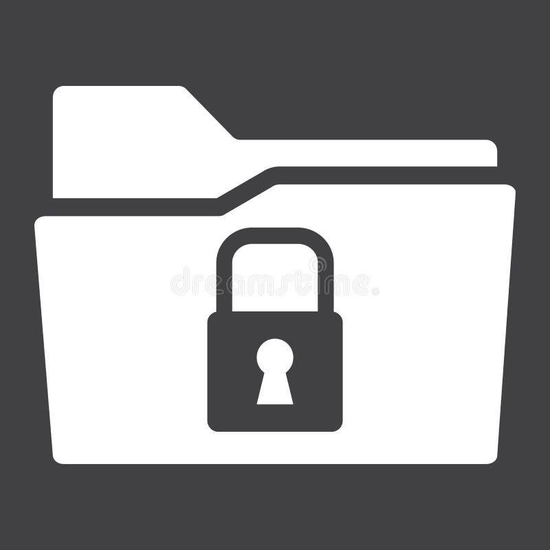 Icono sólido de la carpeta segura de los datos, candado de la seguridad stock de ilustración
