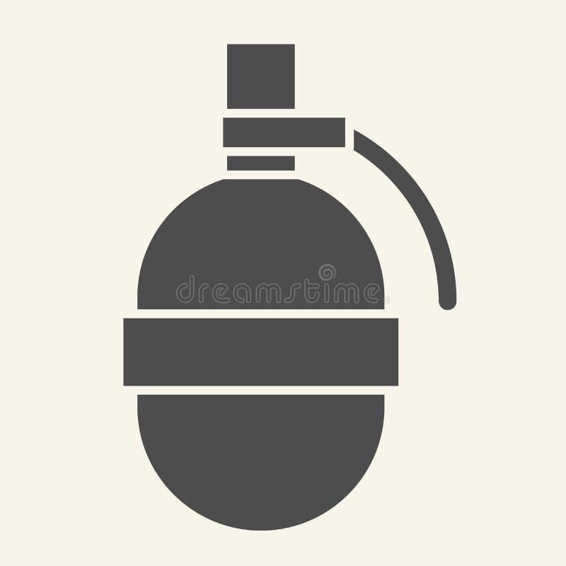 Icono sólido de la granada Estalle el ejemplo del vector aislado en blanco Diseño del estilo del glyph de la bomba, diseñado para stock de ilustración