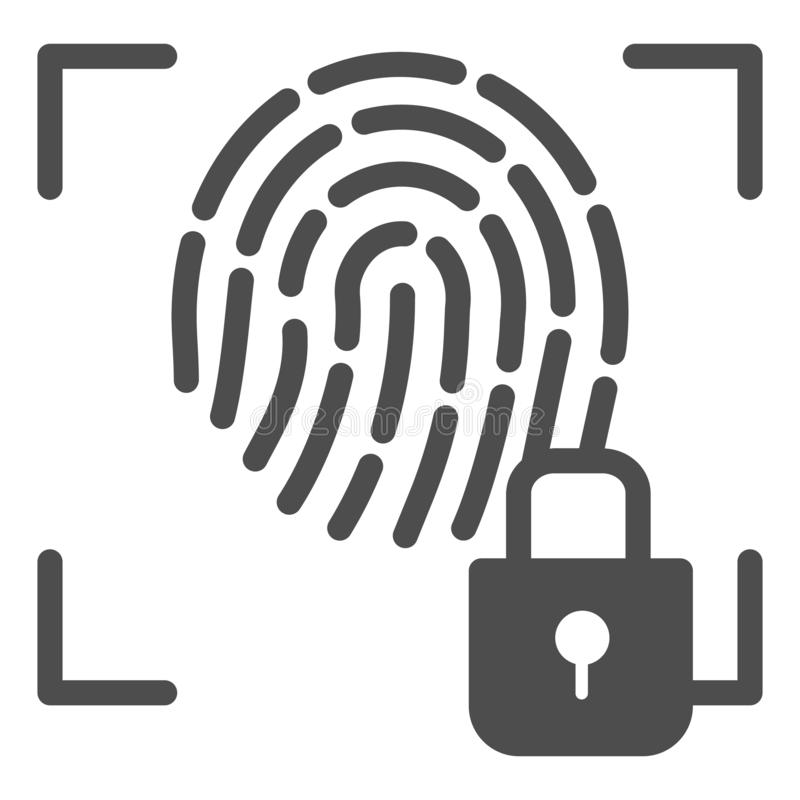 Icono sólido de la huella dactilar y de la cerradura La identificación de la huella dactilar cerró el ejemplo del vector aislado  libre illustration