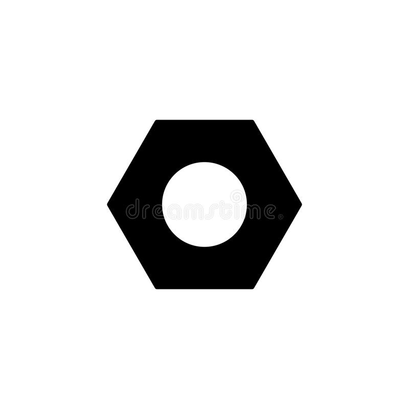 Icono sólido de la nuez del tornillo y de maleficio, reparación de la estructura