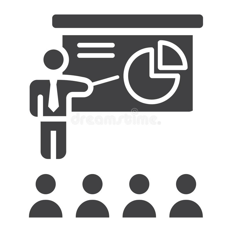 Icono sólido de la presentación del entrenamiento, negocio stock de ilustración