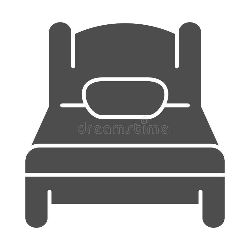 Icono sólido de la sola cama Ejemplo del vector del sueño aislado en blanco Diseño del estilo del glyph del solo sitio, diseñado  ilustración del vector