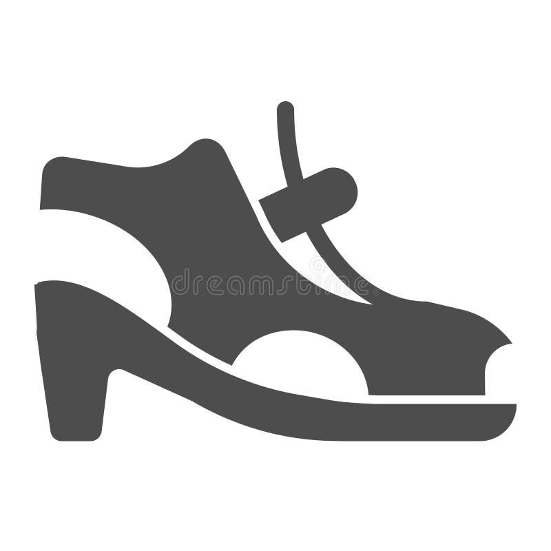 Icono sólido de las sandalias de tacón alto Zapatos de la mujer con el ejemplo del vector del corchete aislado en blanco Estilo d stock de ilustración