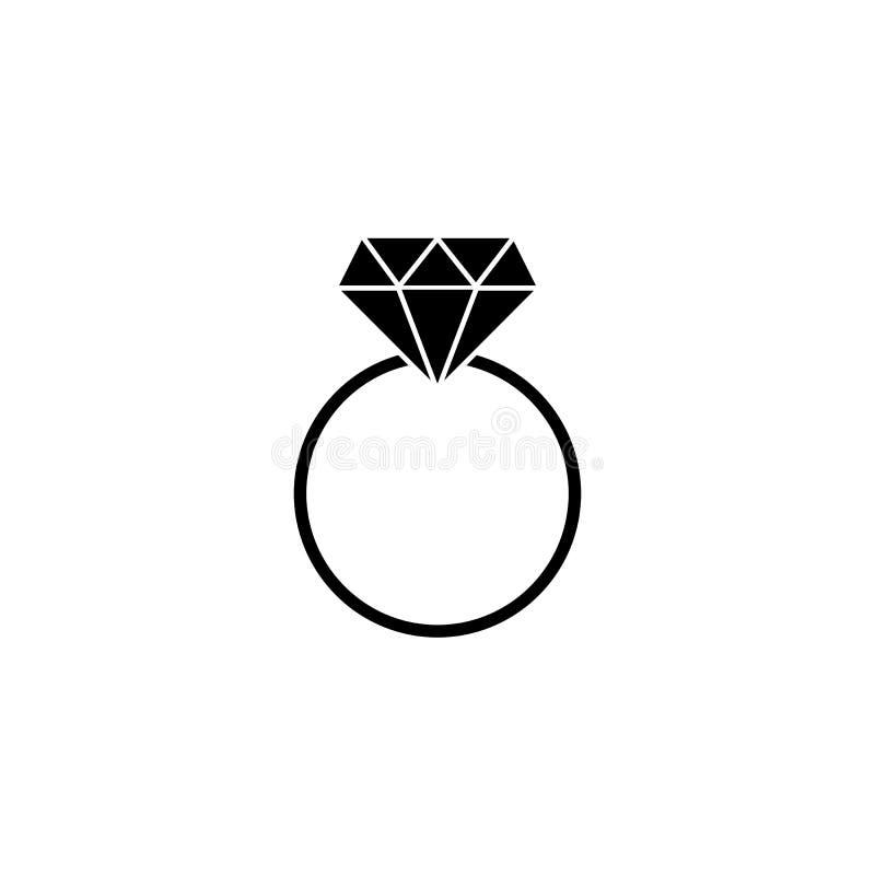 Icono sólido del anillo de diamante de la boda, anillo de compromiso stock de ilustración