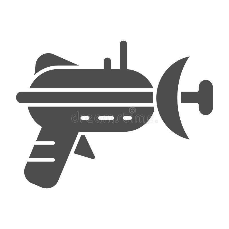Icono sólido del arenador Ejemplo del vector del arma de laser aislado en blanco Diseño del estilo del glyph del arma del espacio stock de ilustración