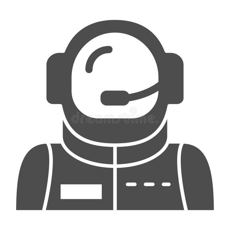 Icono sólido del avatar del astronauta Ejemplo del vector del astronauta aislado en blanco Diseño del estilo del glyph del cosmon ilustración del vector