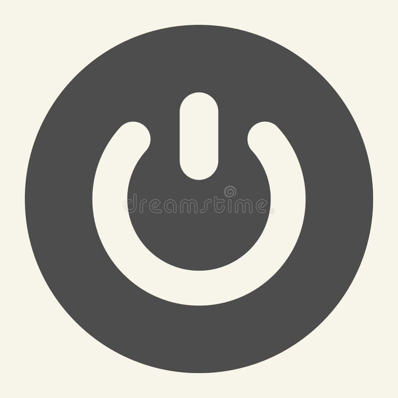 Icono sólido del botón de encendido Ejemplo del vector del interruptor aislado en blanco En del diseño del estilo del glyph del b libre illustration
