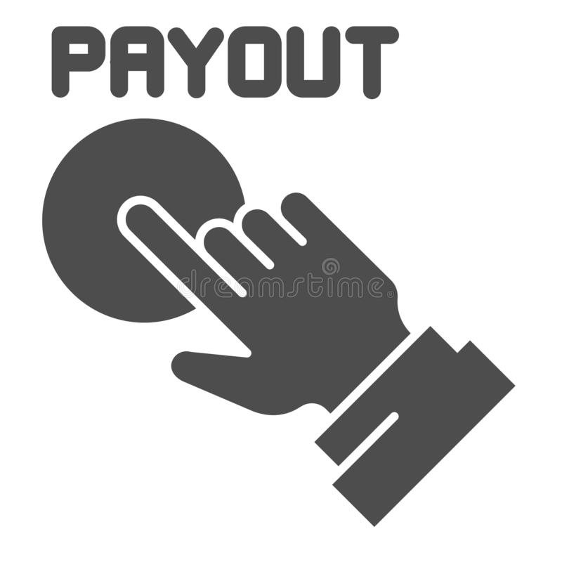 Icono sólido del botón del desembolso Ejemplo del vector de la mano y del botón de la paga aislado en blanco Diseño del estilo de ilustración del vector