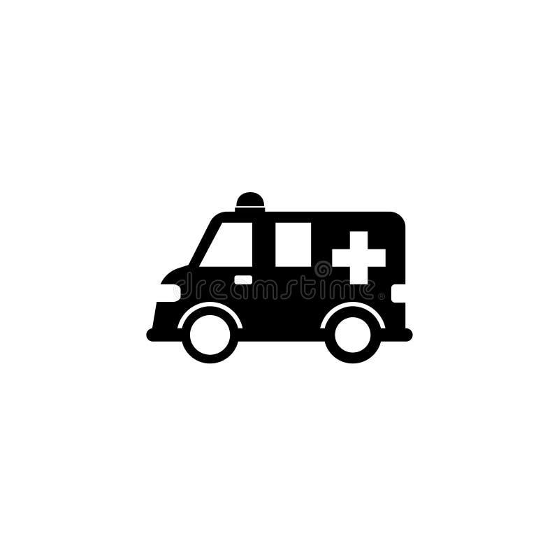 Icono sólido del coche de la ambulancia, muestra del healtcare stock de ilustración