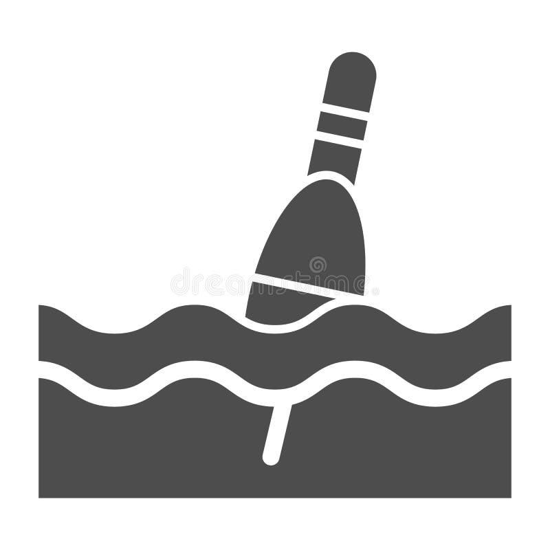 Icono sólido del flotador Ejemplo del vector del Bobber aislado en blanco Diseño del estilo del glyph que pesca con caña, diseñad stock de ilustración