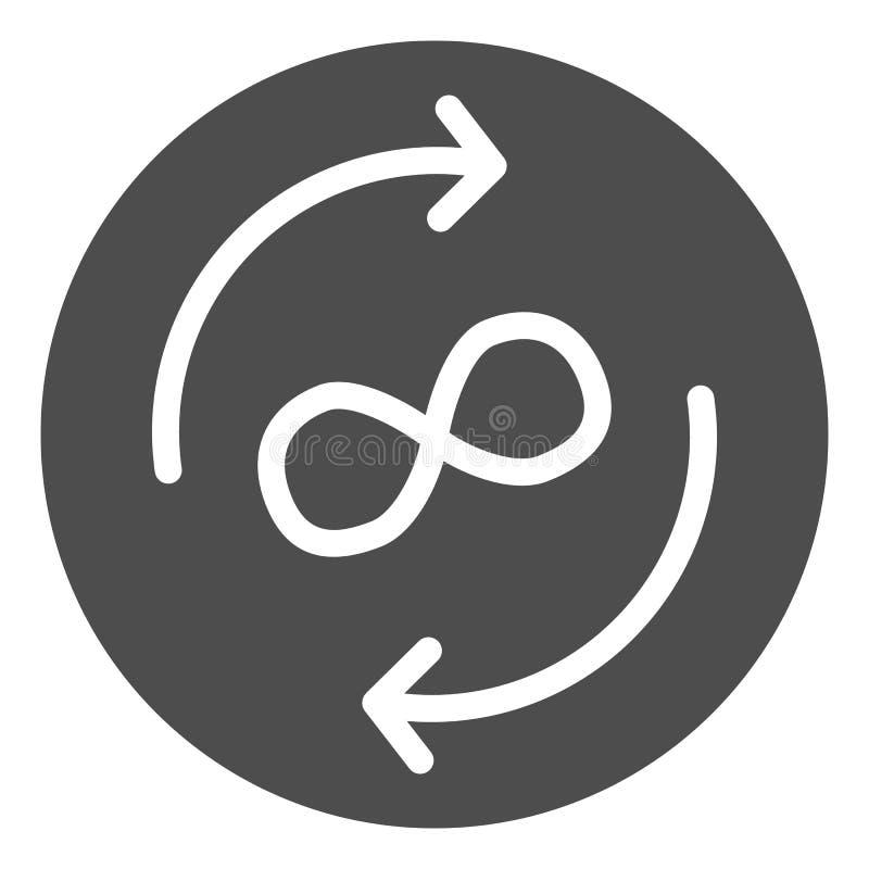 Icono sólido del intercambio del infinito Flechas y ejemplo del vector del símbolo del infinito aislado en blanco Glyph de las  stock de ilustración