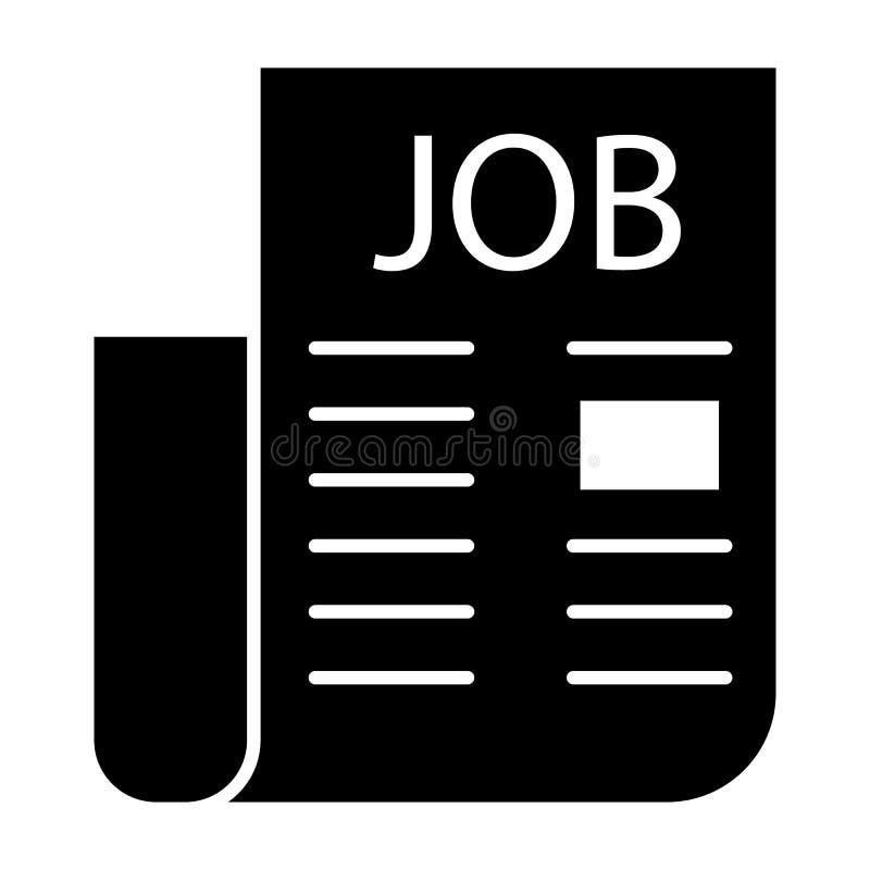 Icono sólido del periódico de los trabajos Ejemplo del vector del empleo aislado en blanco Diseño del estilo del glyph del anunci libre illustration