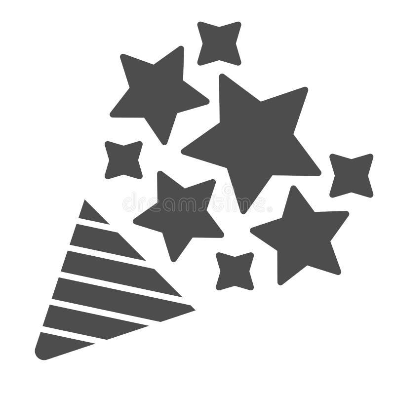 Icono sólido del petardo Ejemplo del vector del tostador de palomitas de maíz del confeti aislado en blanco Diseño del estilo del stock de ilustración