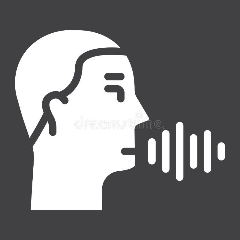 Icono sólido del reconocimiento de voz, control de la voz stock de ilustración
