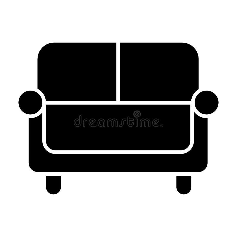 Icono sólido del sofá Ejemplo del vector del sofá aislado en blanco Diseño del estilo del glyph del diván, diseñado para la web y stock de ilustración