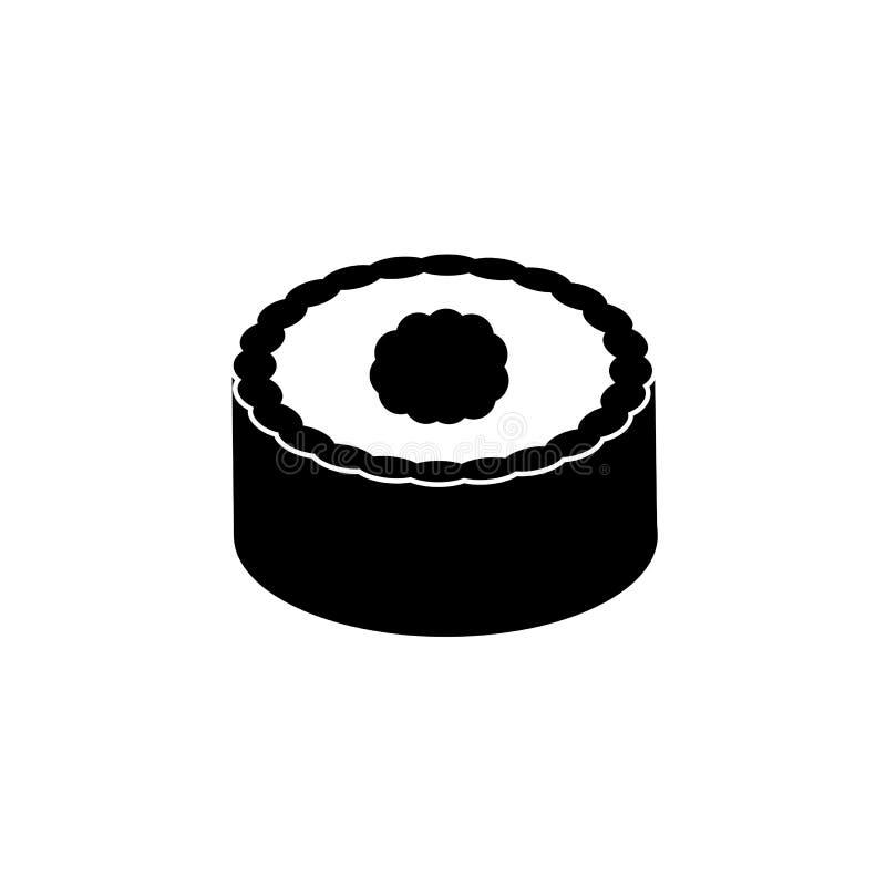 Icono sólido del sushi, elementos de la bebida de la comida stock de ilustración