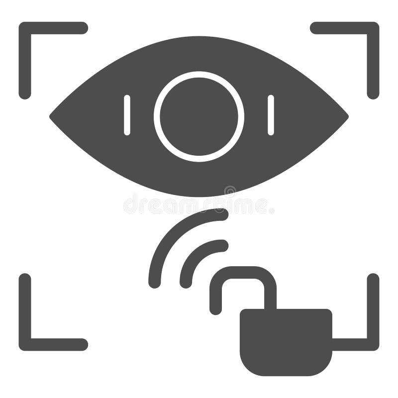 Icono sólido desbloqueado reconocimiento de la retina Ejemplo del vector del acceso de la identificación del ojo aislado en blanc libre illustration