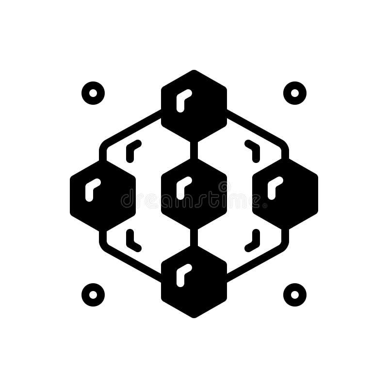 Icono sólido negro para adyacente, el extracto y el modelo ilustración del vector