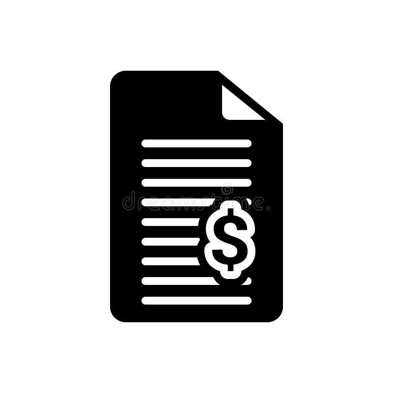 Icono sólido negro para Bill, la factura y el recibo libre illustration