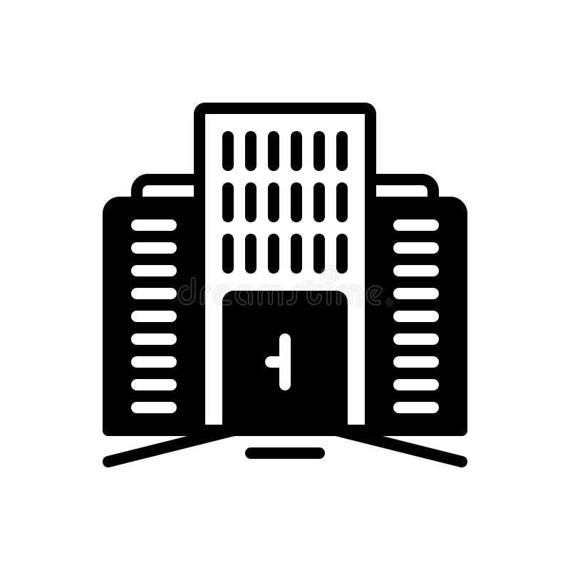 Icono sólido negro para comercial, mercantil y construir ilustración del vector