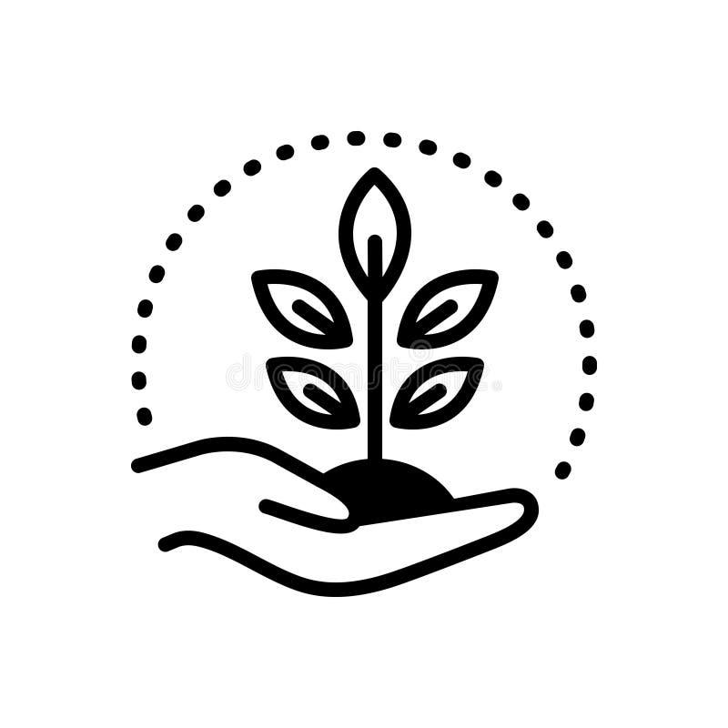 Icono sólido negro para conservar, la protección y la conservación libre illustration