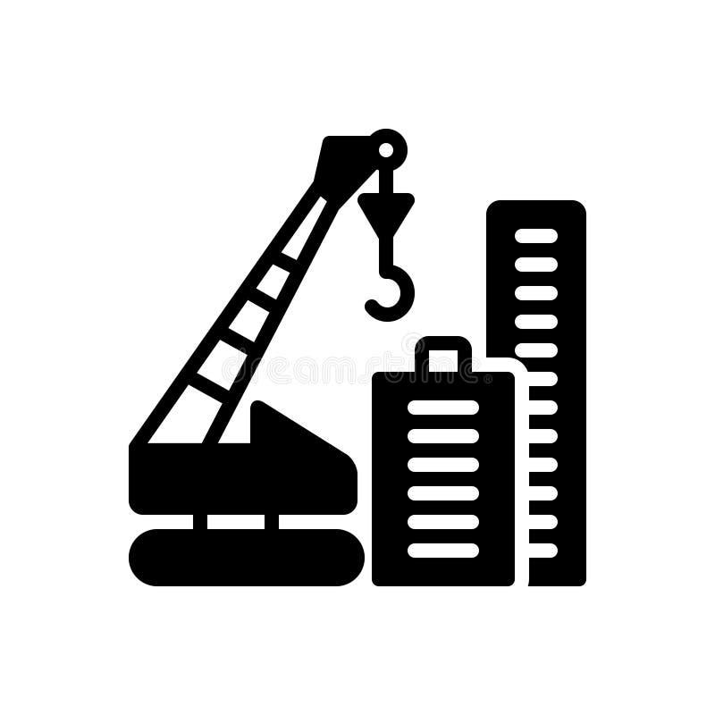 Icono sólido negro para Crane Building, la construcción y la torre stock de ilustración