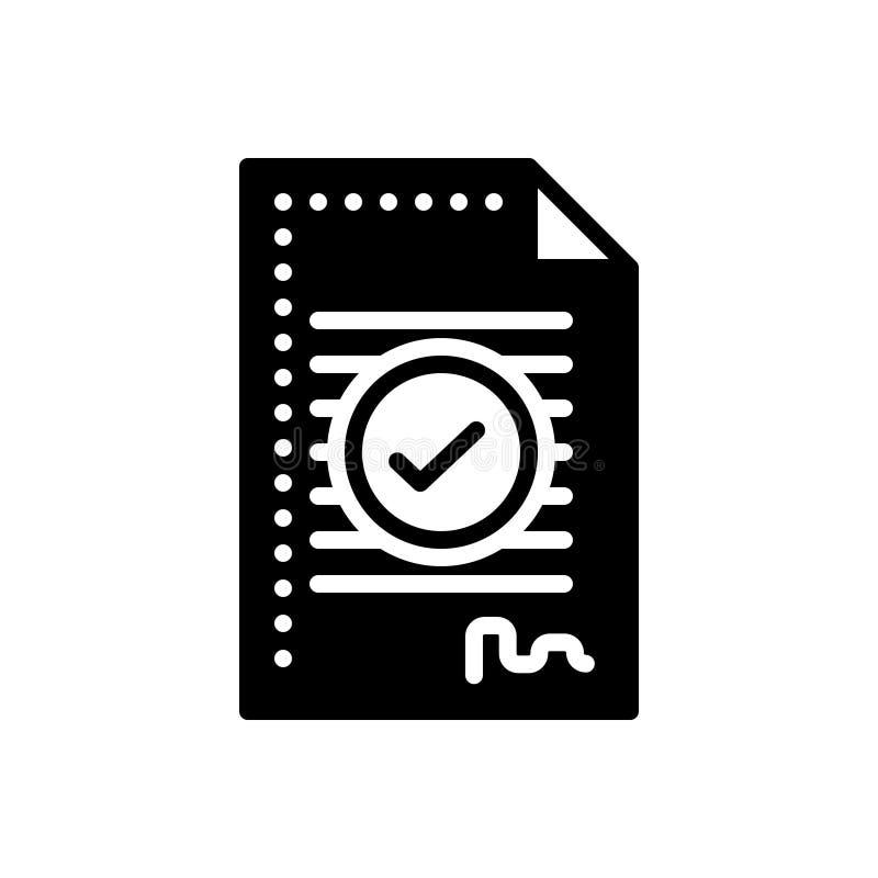 Icono sólido negro para el acuerdo, el compromiso y el trato libre illustration