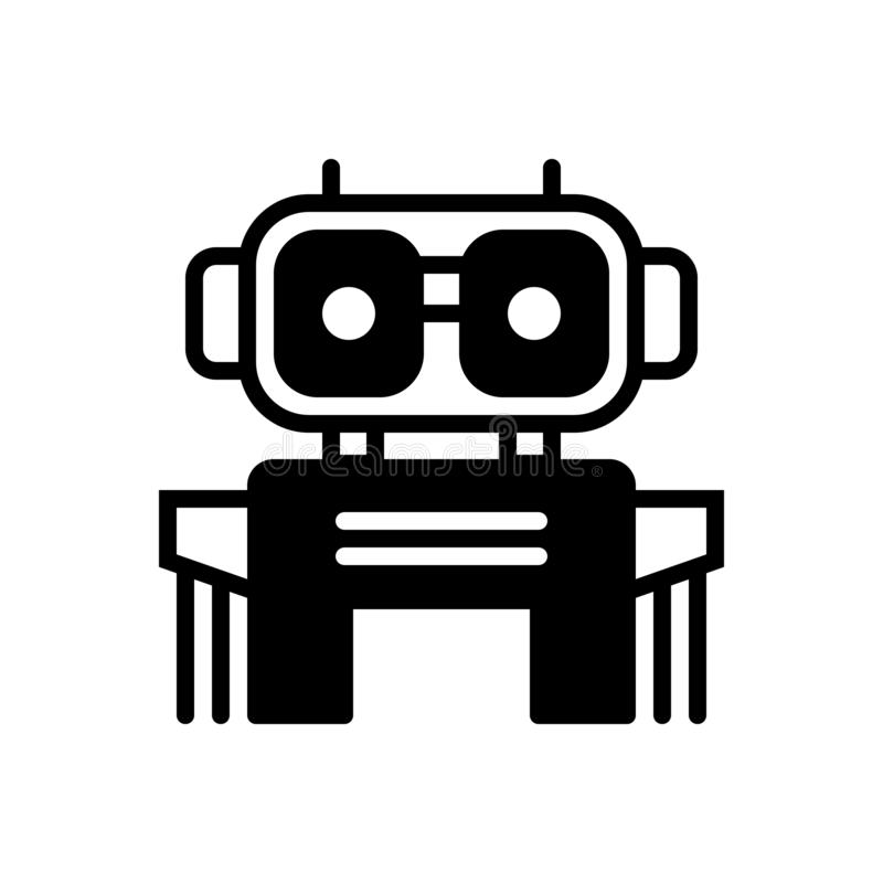 Icono sólido negro para el Bot, la robótica y el chatbot stock de ilustración