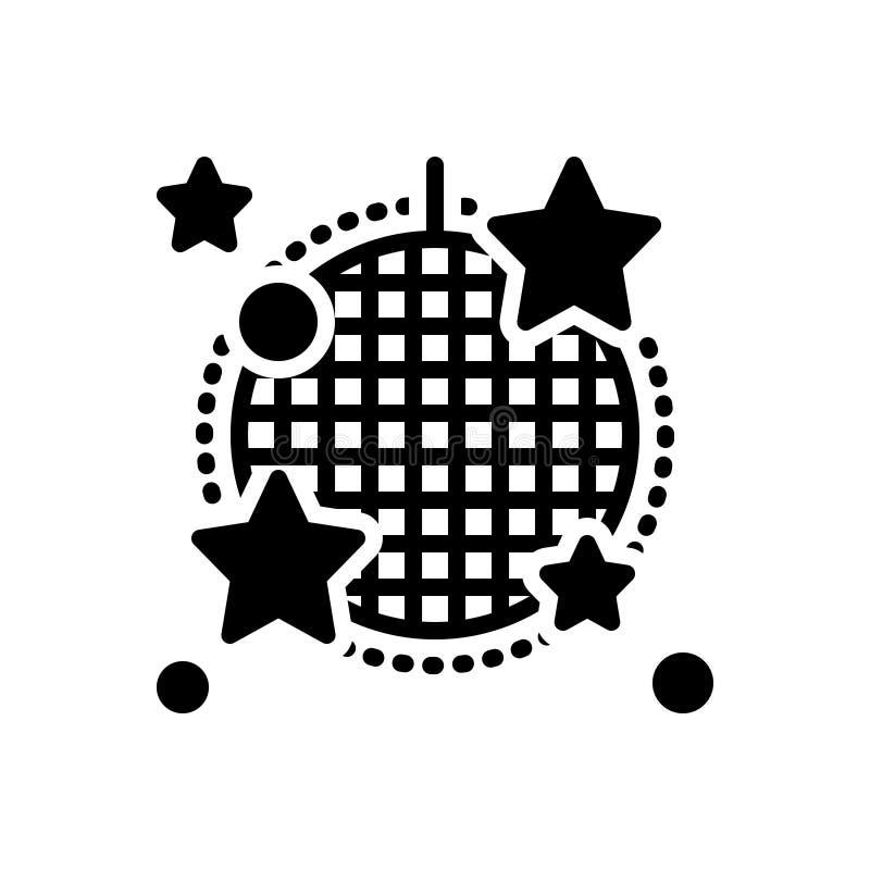 Icono sólido negro para el cabaret, la etapa y el club nocturno stock de ilustración