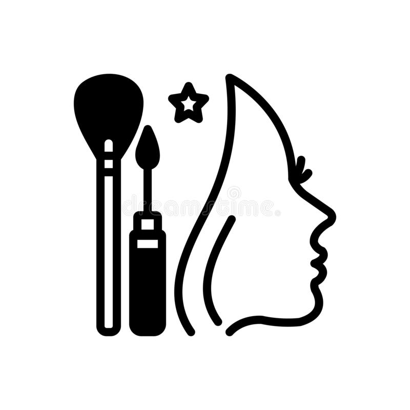 Icono sólido negro para el cambio de imagen, el maquillaje y el cosmético stock de ilustración