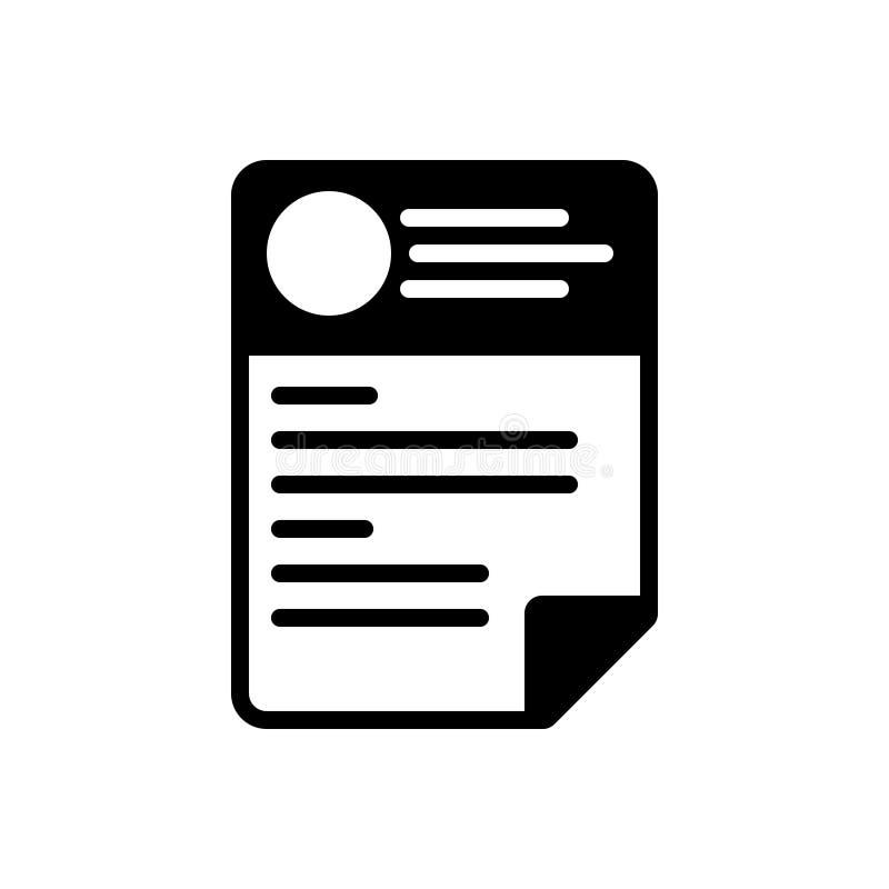 Icono sólido negro para el Cv, el curriculum vitae y la plantilla ilustración del vector