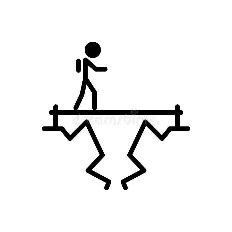 Icono sólido negro para el desafío, el objetivo y la blanco stock de ilustración