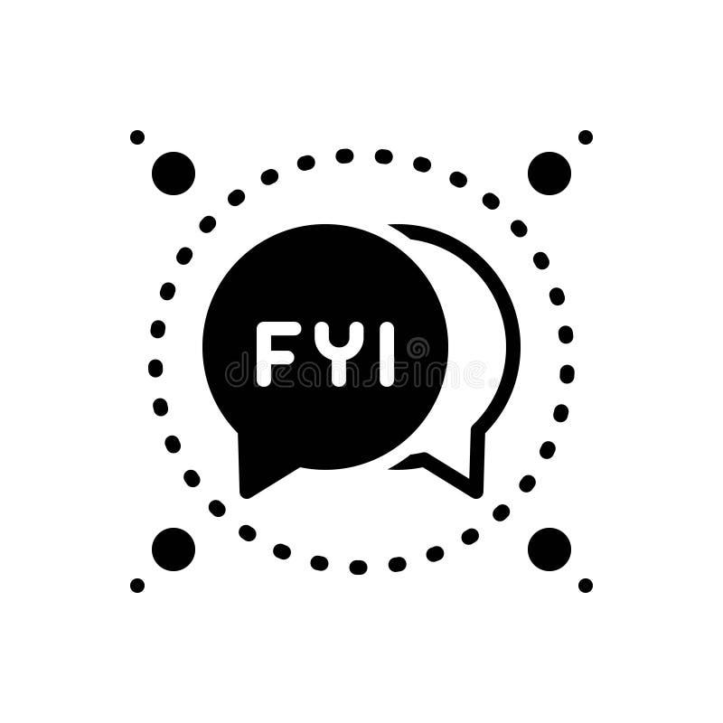 Icono sólido negro para el FYI, la burbuja y la abreviatura ilustración del vector