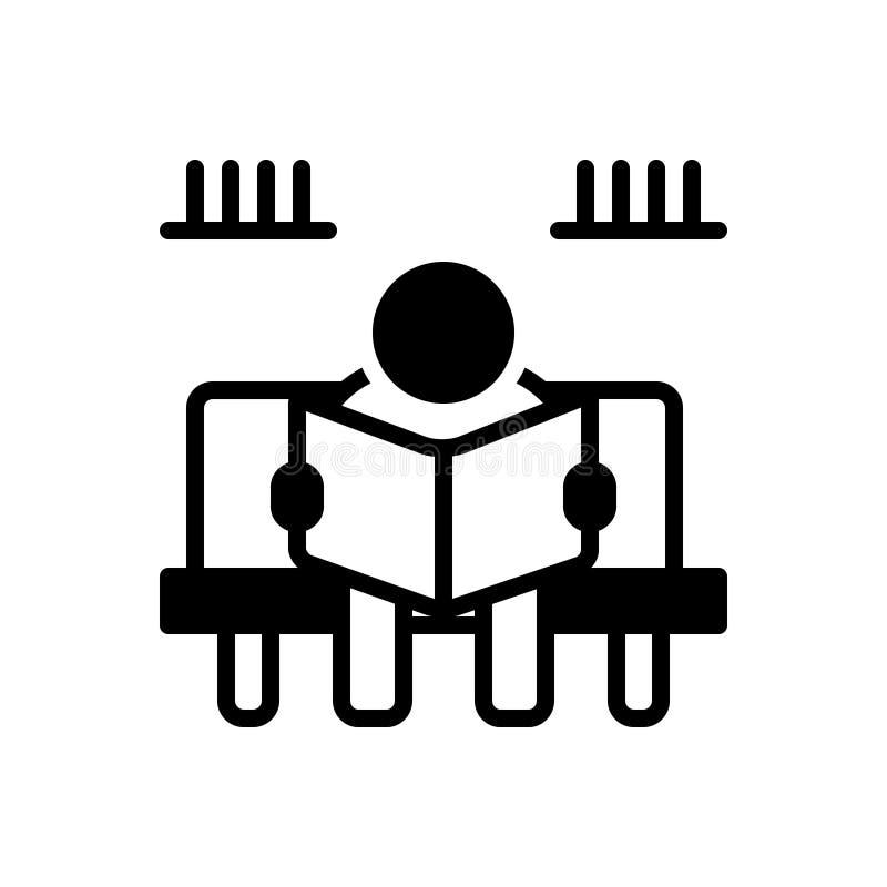 Icono sólido negro para el libro de lectura, la lectura y el libro stock de ilustración
