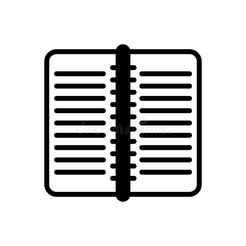 Icono sólido negro para el libro, la publicación y la página de trabajo stock de ilustración