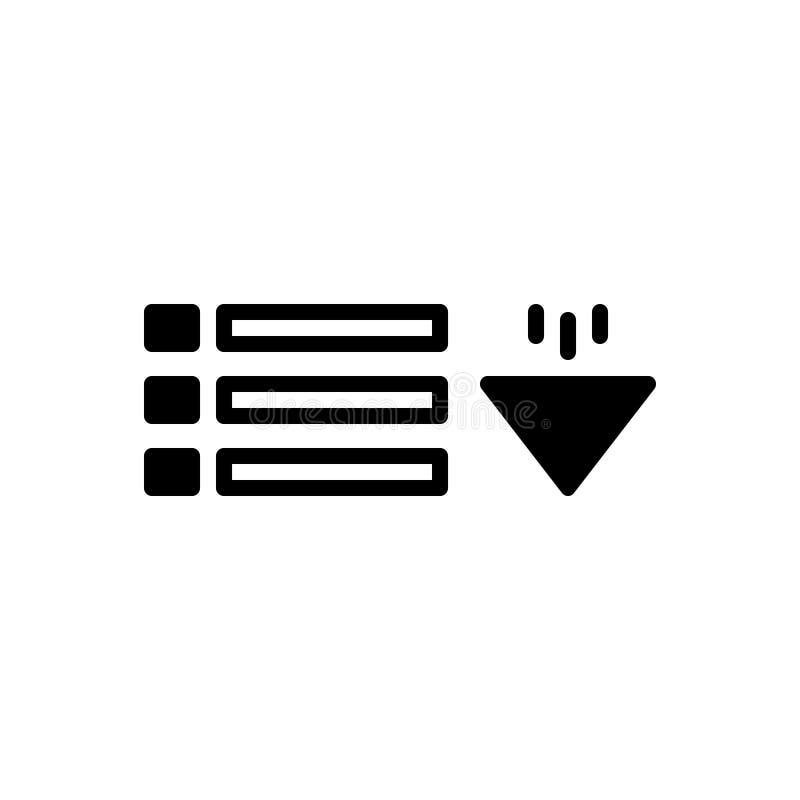 Icono sólido negro para el menú del descenso, el descenso y el menú stock de ilustración