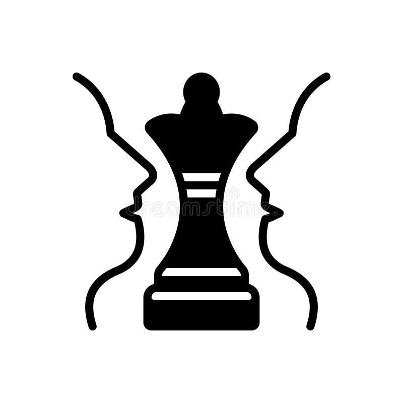 Icono sólido negro para el plan, el ajedrez y el desafío estratégicos libre illustration