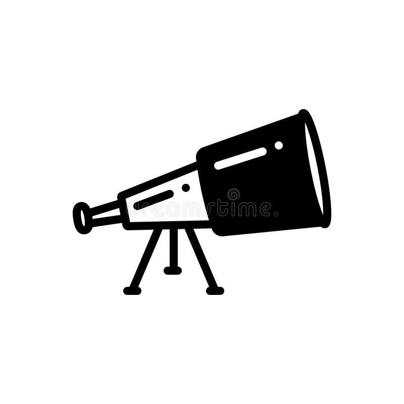 Icono sólido negro para el telescopio, los prismáticos y la ciencia libre illustration