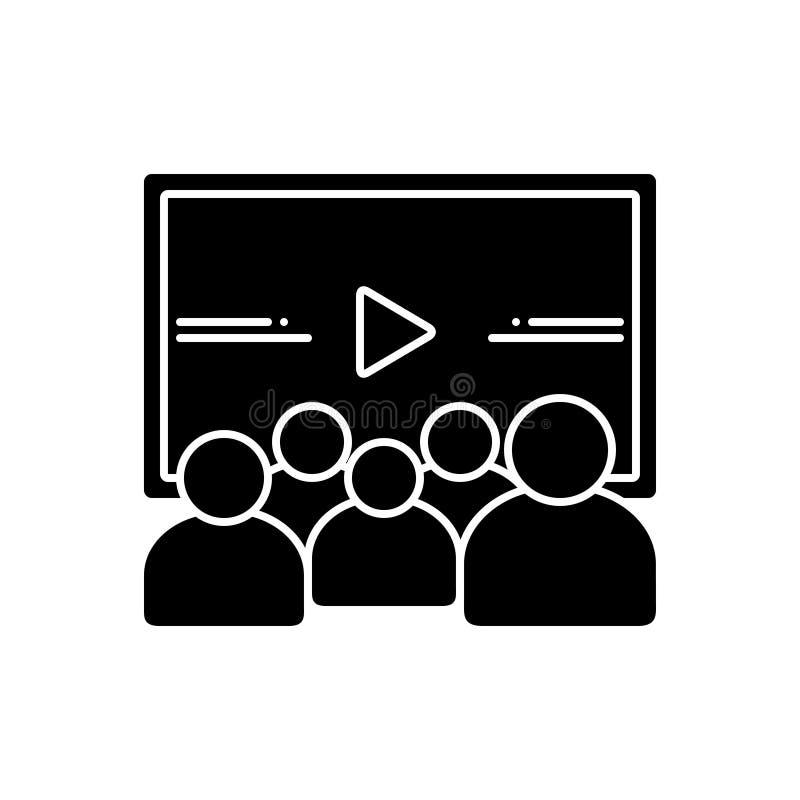 Icono sólido negro para el vídeo, la investigación y la audiencia stock de ilustración