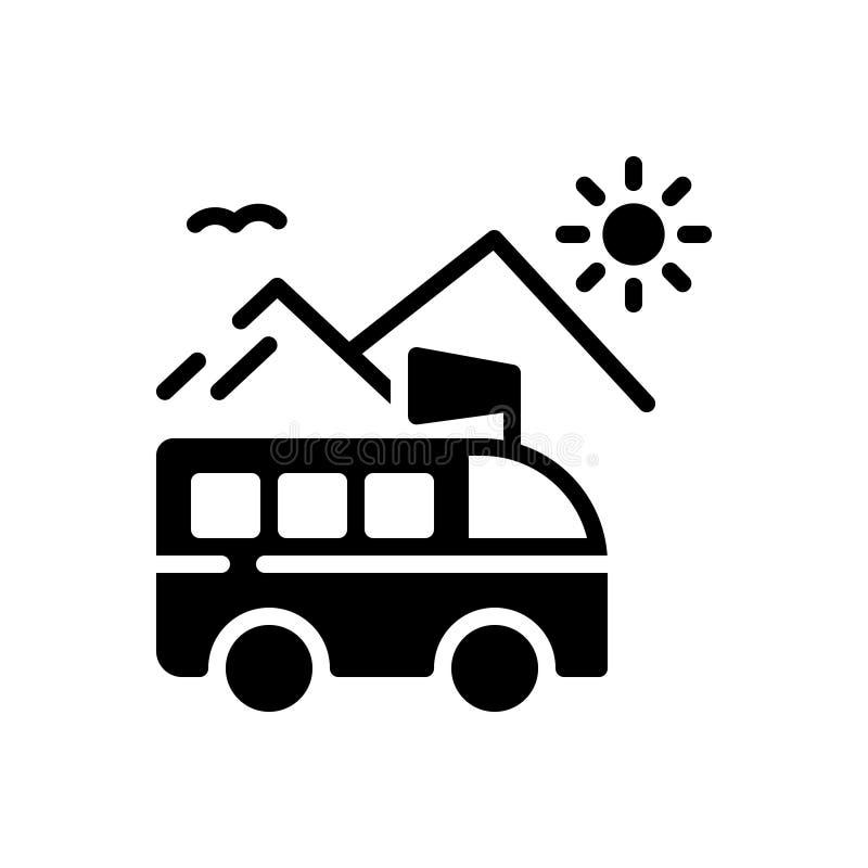 Icono sólido negro para el viaje, la 'promenade' y la excursión stock de ilustración